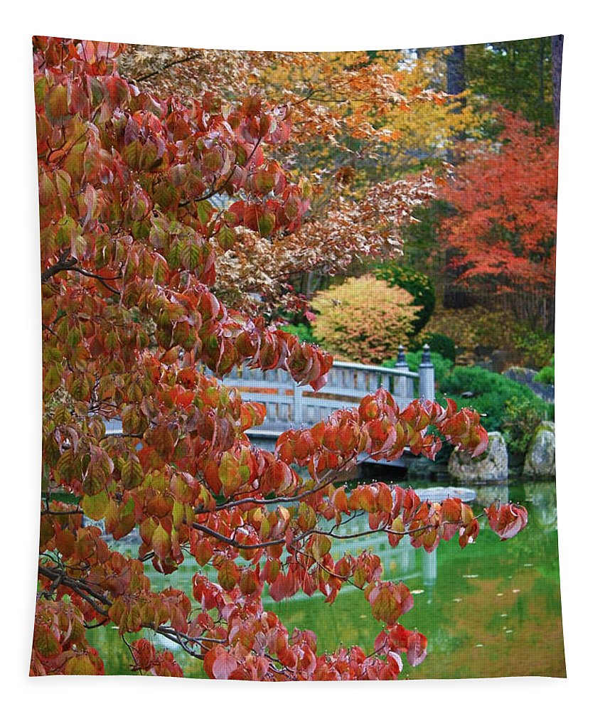 Autumn Landscape Tapestry featuring the photograph Rust Colored Leaves Over Autumn Pond by Carol Groenen
