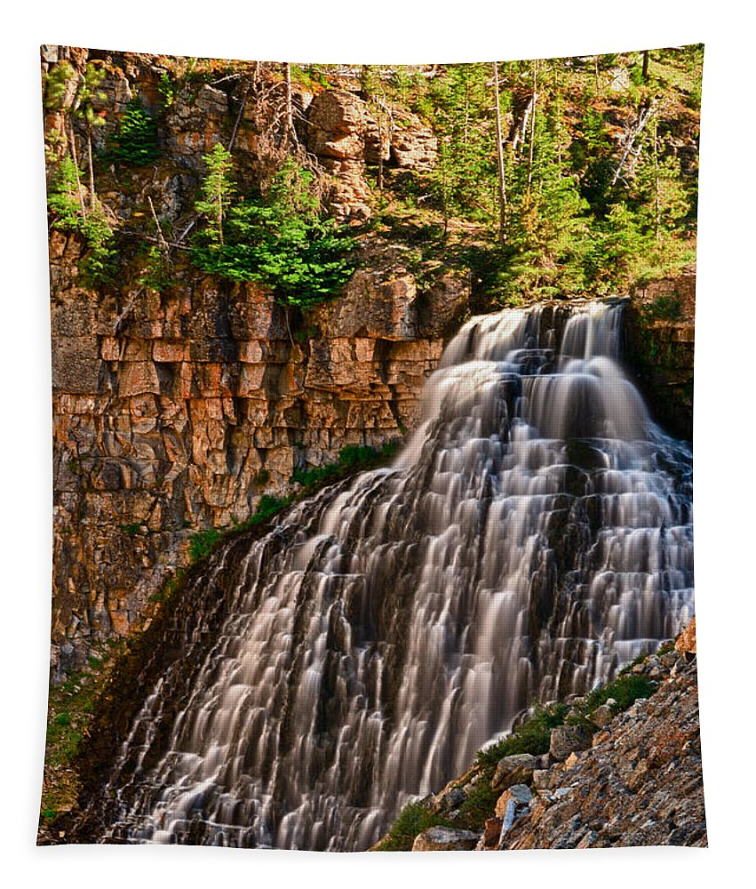 Yellowstone Tapestry featuring the photograph Rustic Falls by Greg Norrell