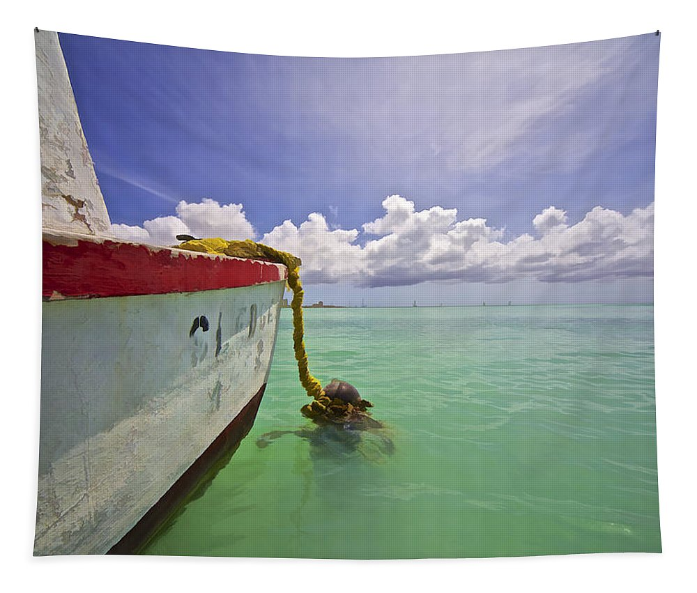 Anchor Tapestry featuring the photograph Rustic Fishing Boat of Aruba by David Letts