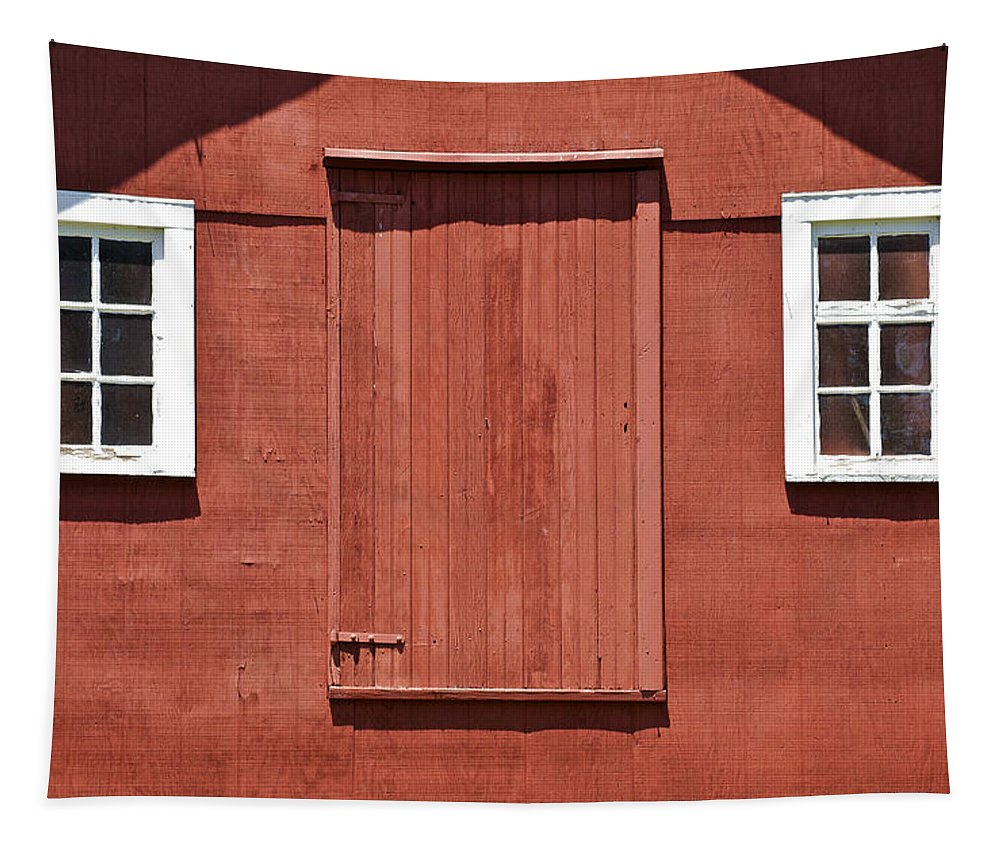 Americana Tapestry featuring the photograph Rustic Red Barn Door With Two White Wood Windows by David Letts
