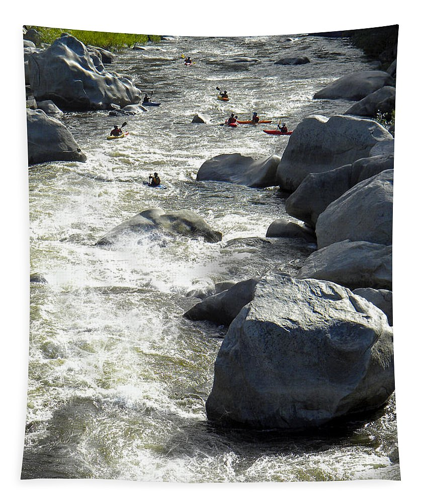 Kayak Tapestry featuring the photograph Safely Through The Boulders by Frank Wilson