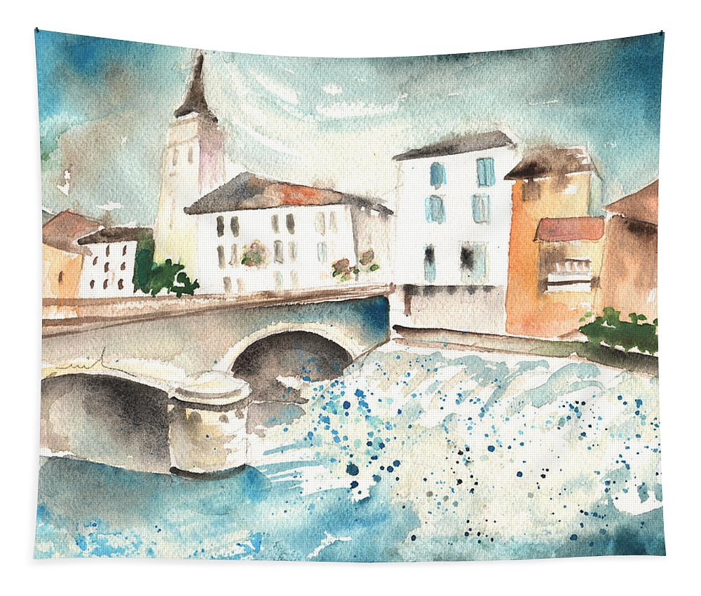 Travel Tapestry featuring the painting Saint Girons 02 by Miki De Goodaboom