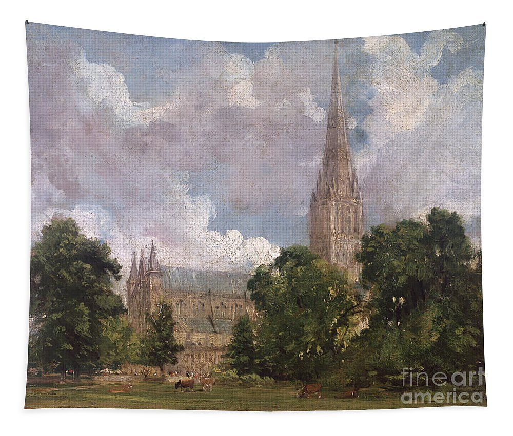 Salisbury Cathedral From The South West Tapestry featuring the painting Salisbury Cathedral From The South West by John Constable