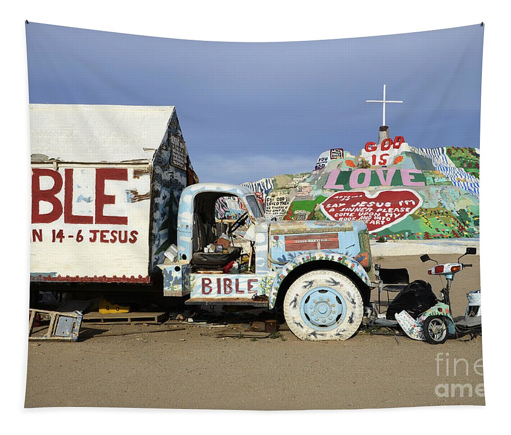 Salvation Mountain Tapestry featuring the photograph Salvation Mountain California 1 by Bob Christopher