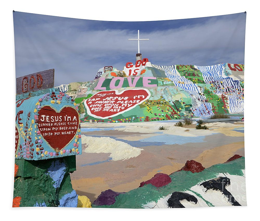 Salvation Mountain Tapestry featuring the photograph Salvation Mountain California 2 by Bob Christopher