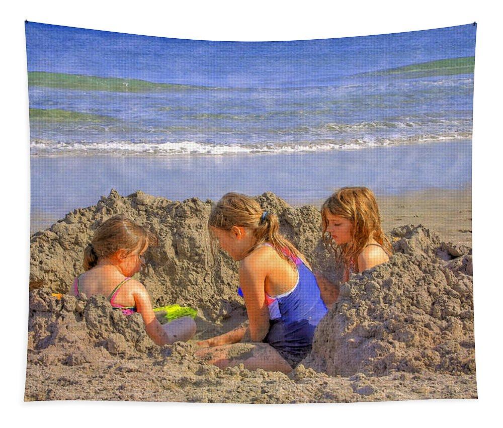 Clouds Tapestry featuring the photograph Sandy Fingers Sandy Toes by Debra and Dave Vanderlaan