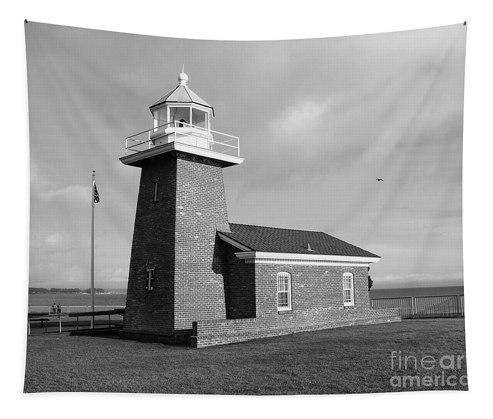 Lighthouse Tapestry featuring the photograph Santa Cruz Lighthouse - Black And White by Carol Groenen