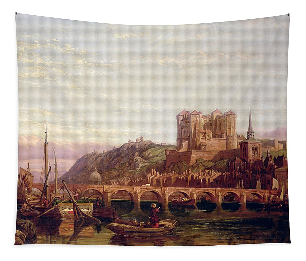 Saumur Tapestry featuring the painting Saumur - By The Loire Valley by George Clarkson Stanfield