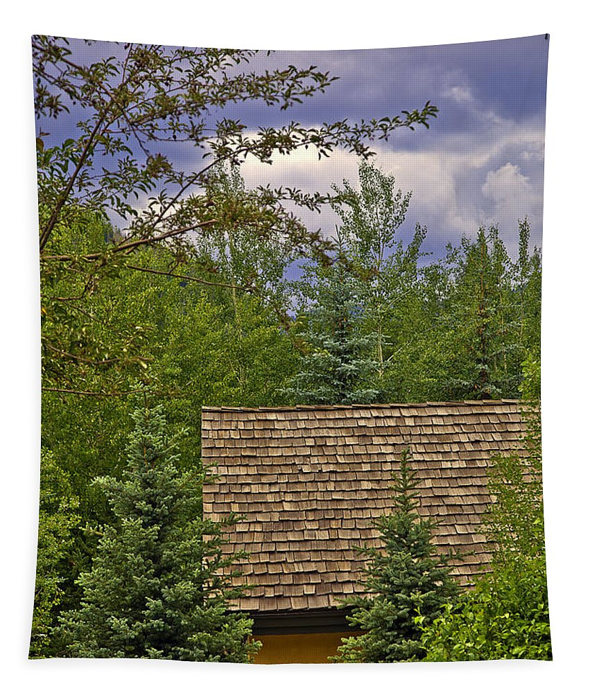 Colorado Tapestry featuring the photograph Scene Through The Trees - Vail by Madeline Ellis