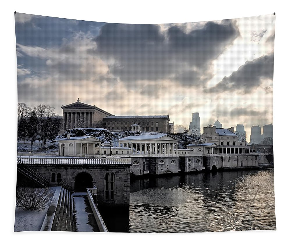 Scenic Tapestry featuring the photograph Scenic Philadelphia Winter by Bill Cannon