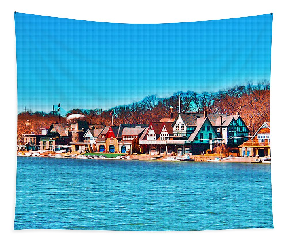 Schuylkill Navy Boat House Row Tapestry featuring the photograph Schuylkill Navy Boat House Row by Bill Cannon