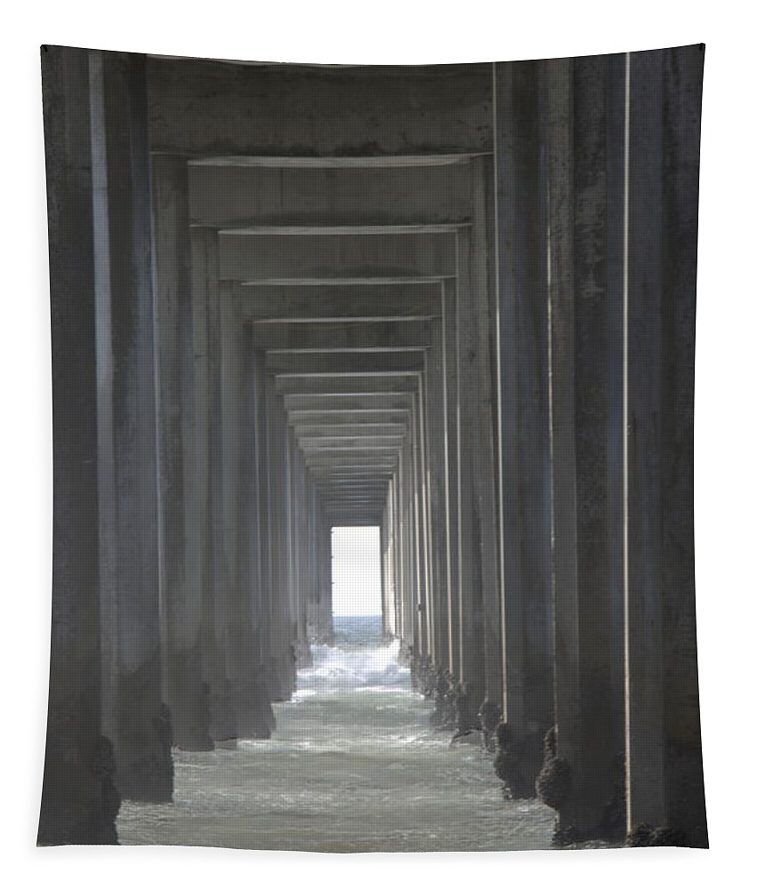 Scripps Pier Tapestry featuring the photograph Scripps Pier La Jolla California2 by Bob Christopher