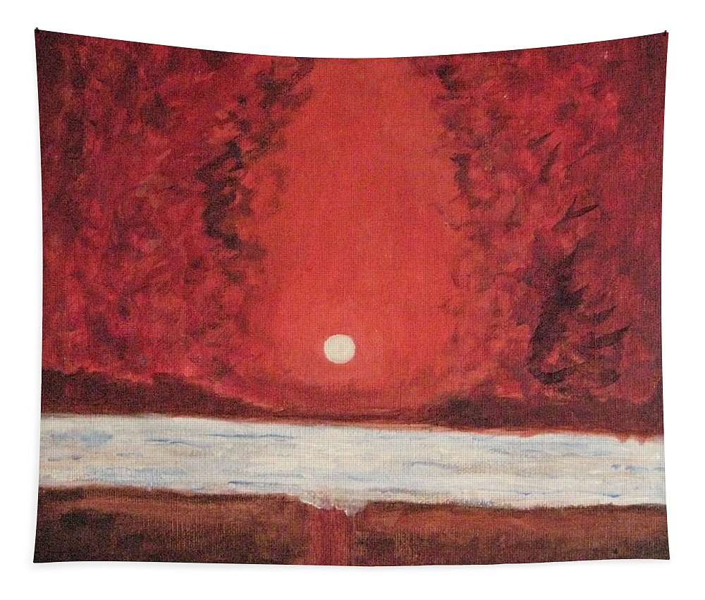 Reflection Of Moon Tapestry featuring the painting Sea And Moon by Sonali Gangane