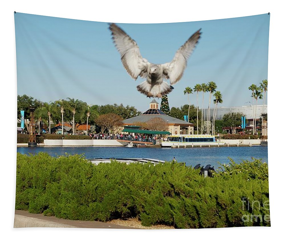 Animals Tapestry featuring the photograph Sea Gull With Full Flaps by Thomas Woolworth