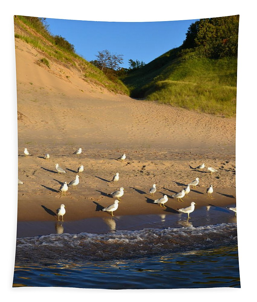 Lake Michigan Tapestry featuring the photograph Seagulls At The Bowl by Michelle Calkins