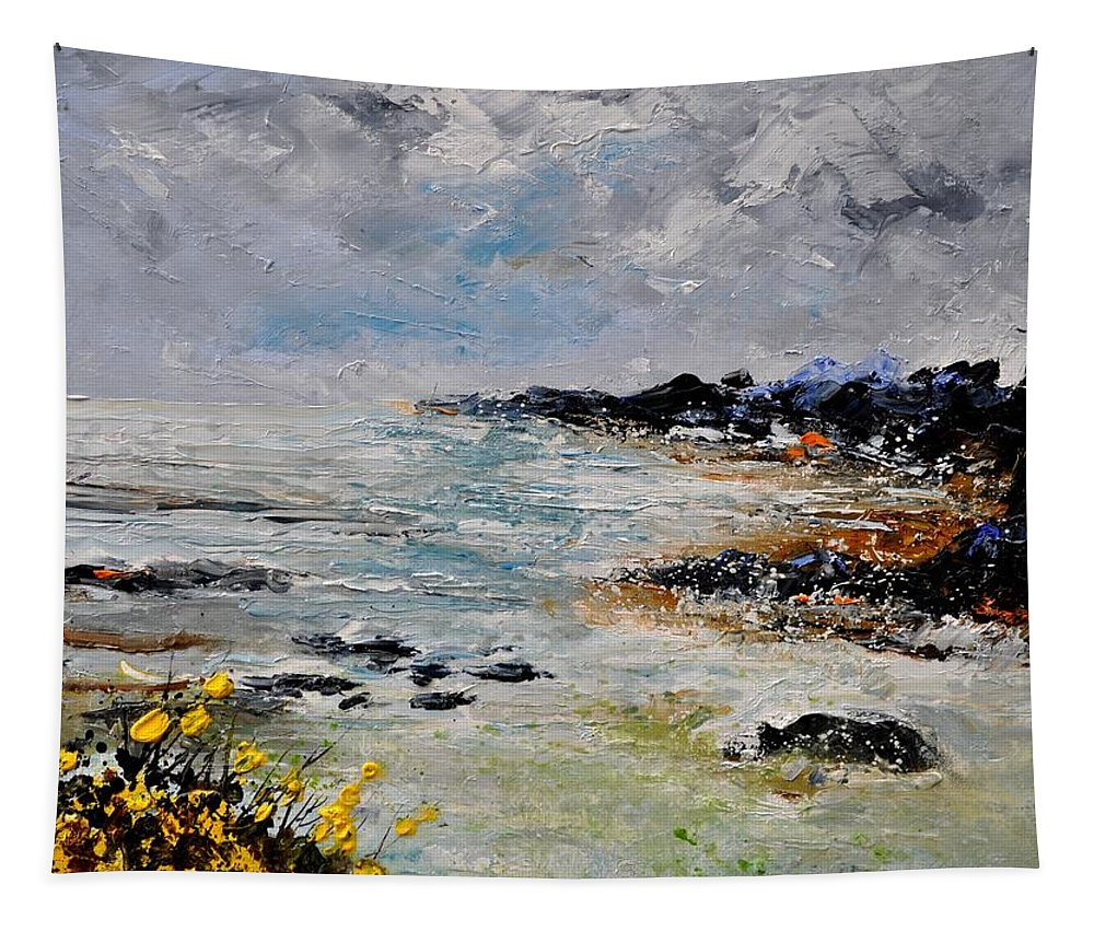 Seascape Tapestry featuring the painting Seascape 452160 by Pol Ledent