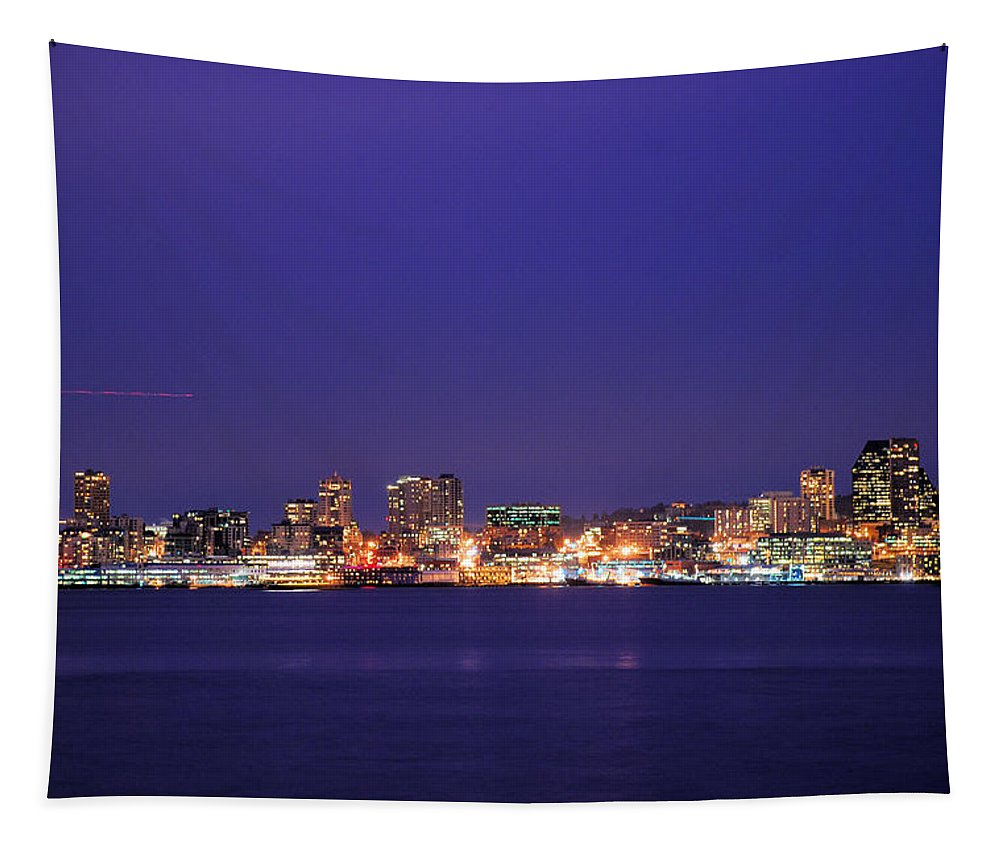 Seattle Tapestry featuring the photograph Seattle At Dusk by Michael Merry