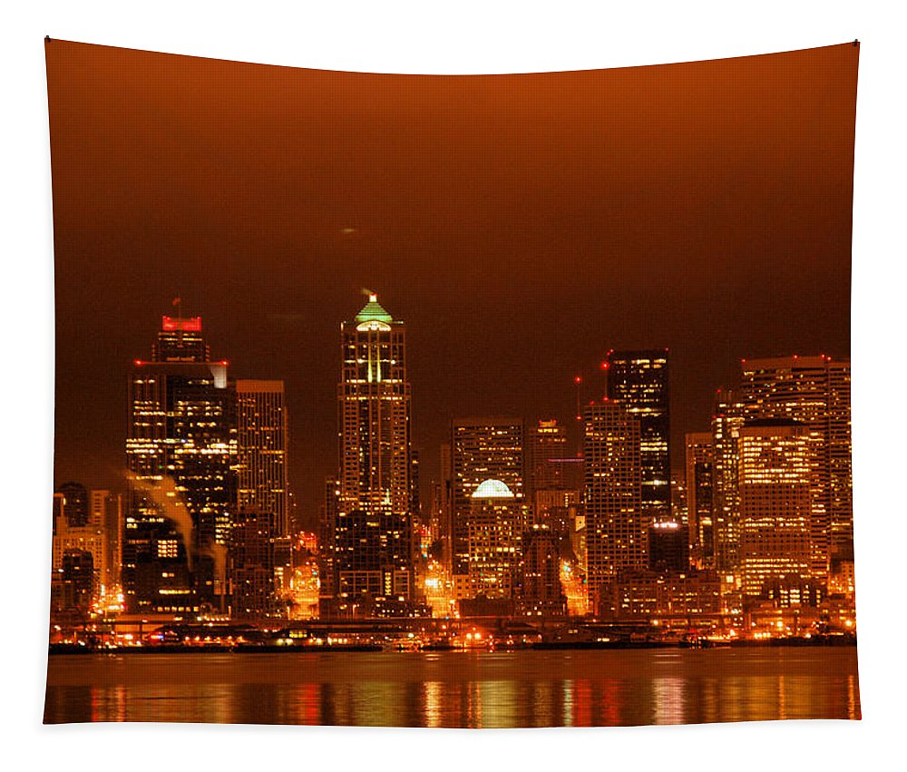 Seattle Tapestry featuring the photograph Seattle Skyline by Michael Merry