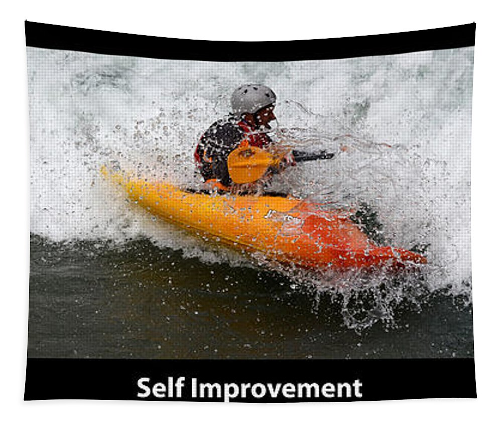 Kayaking Tapestry featuring the photograph Self Improvement With Caption by Bob Christopher