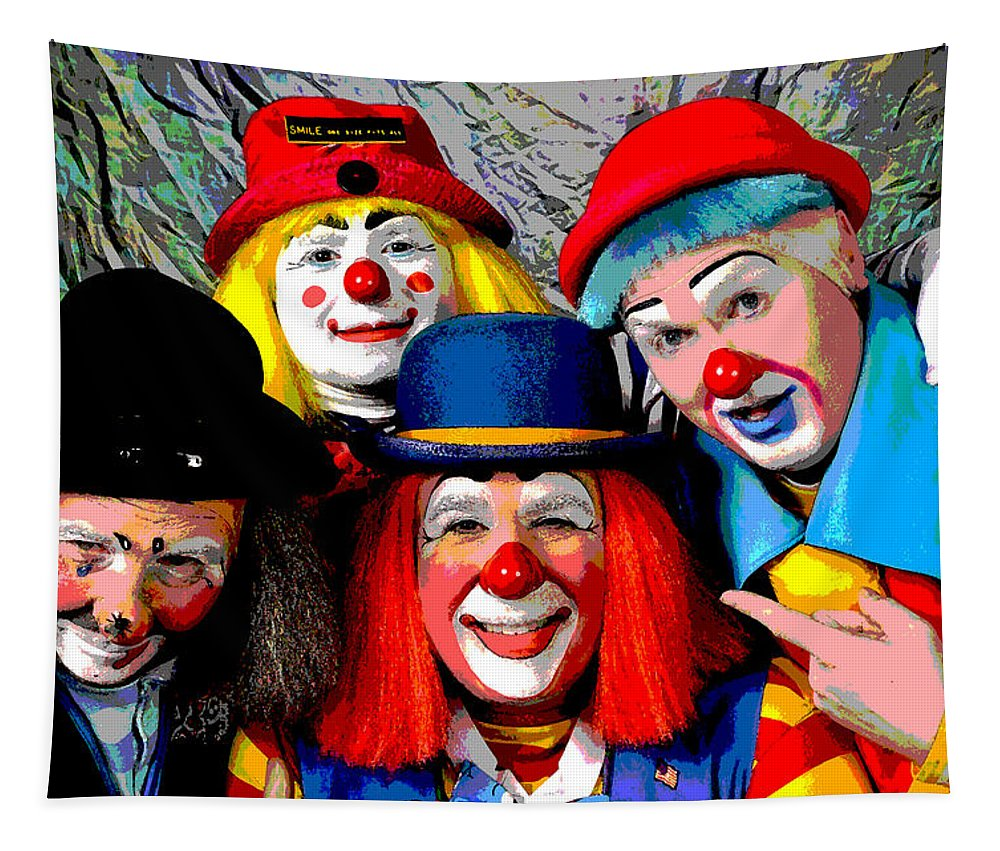 Clowns Tapestry featuring the photograph Seriously Now by Mike Martin