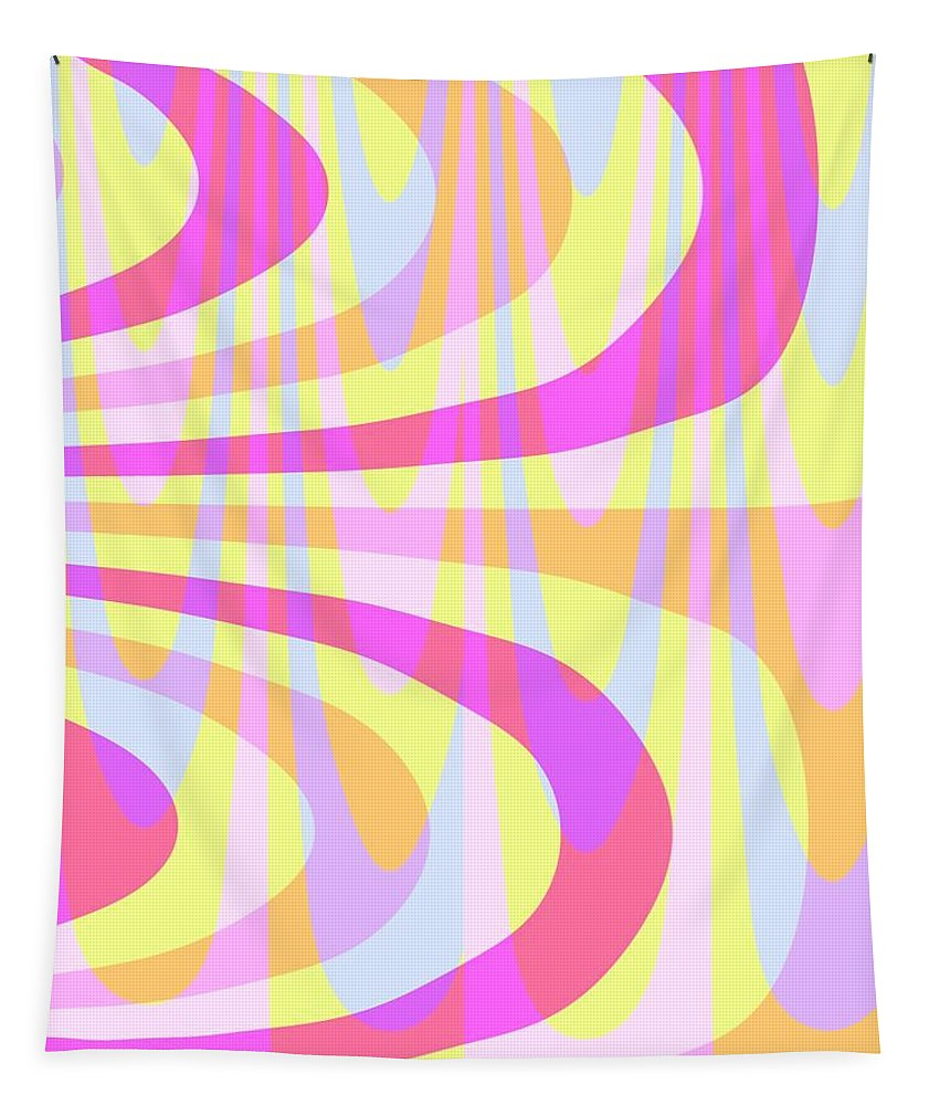 70's Swirls (digital) By Louisa Knight (contemporary Artist) Tapestry featuring the digital art Seventies Swirls by Louisa Knight