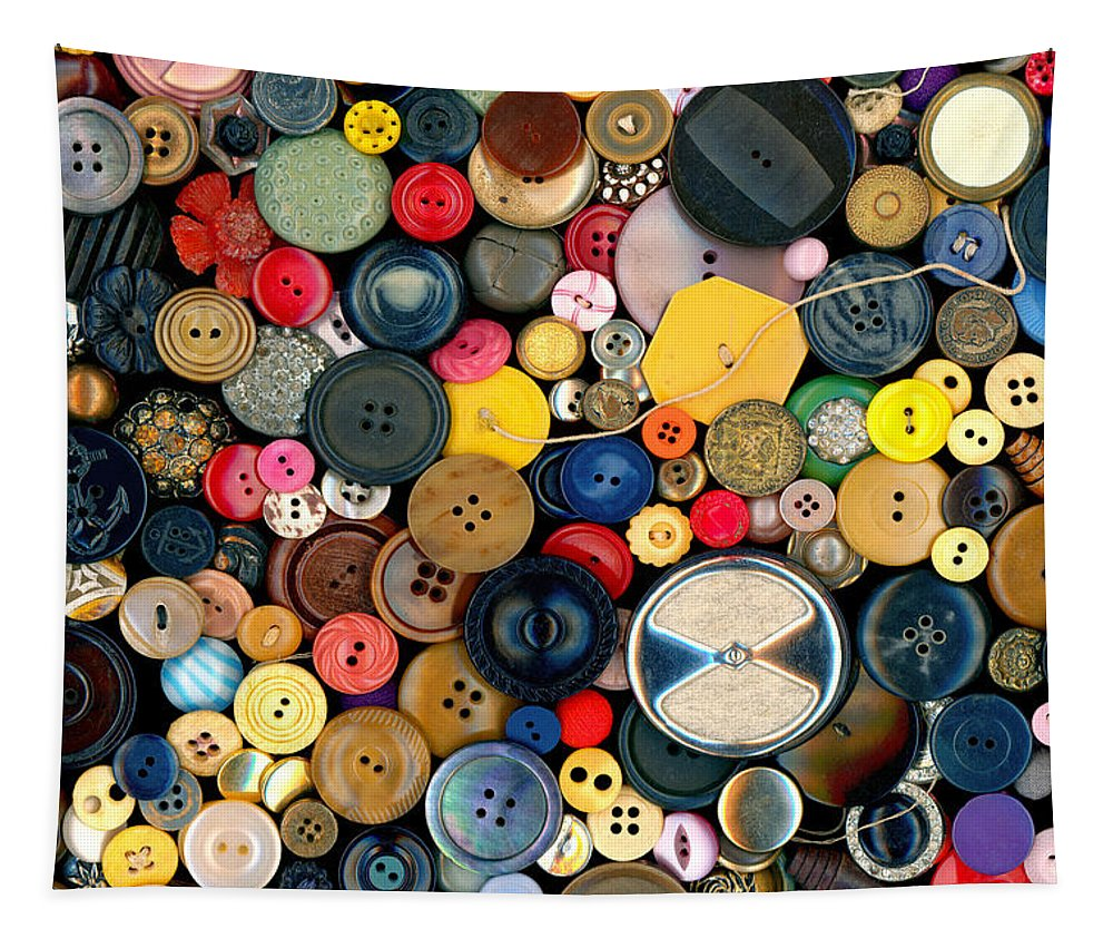 Sewing Tapestry featuring the photograph Sewing - Buttons - Bunch Of Buttons by Mike Savad