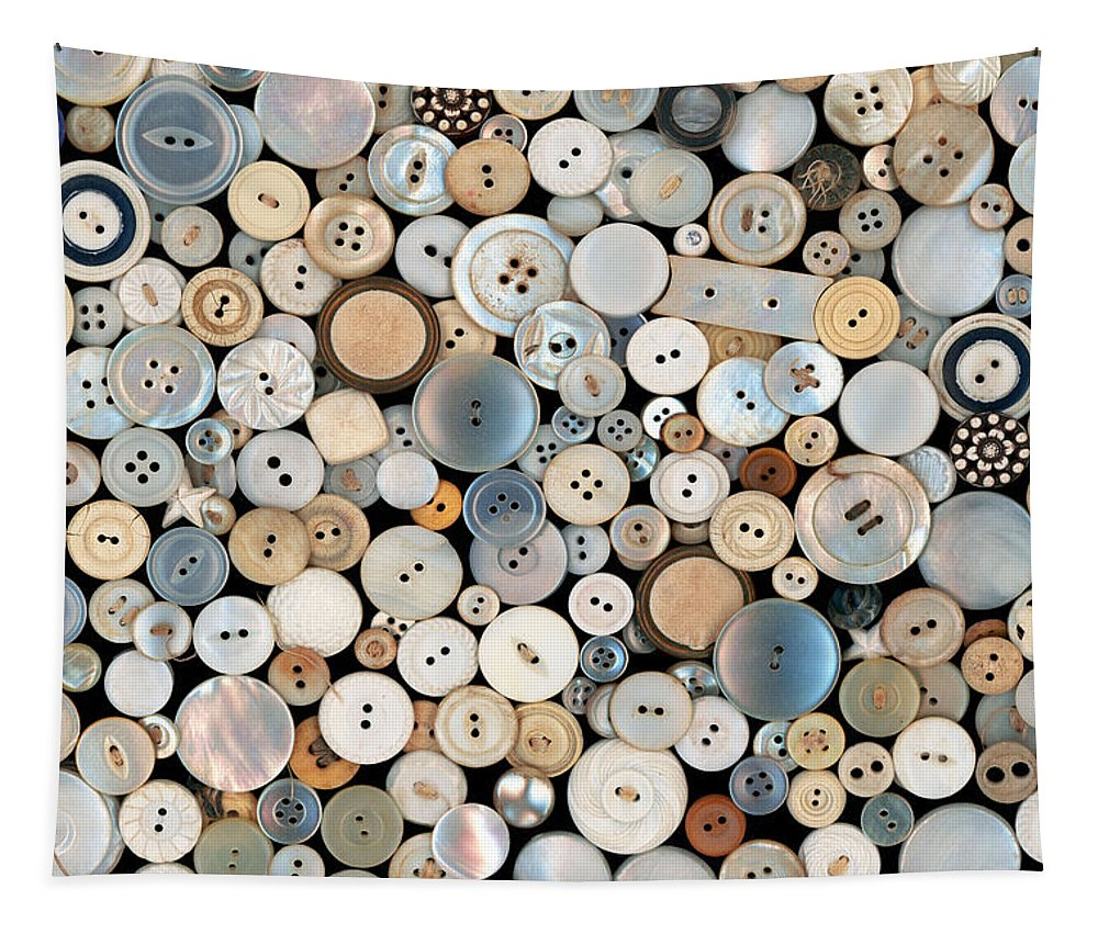 Sewing Tapestry featuring the photograph Sewing - Buttons - Lots Of White Buttons by Mike Savad