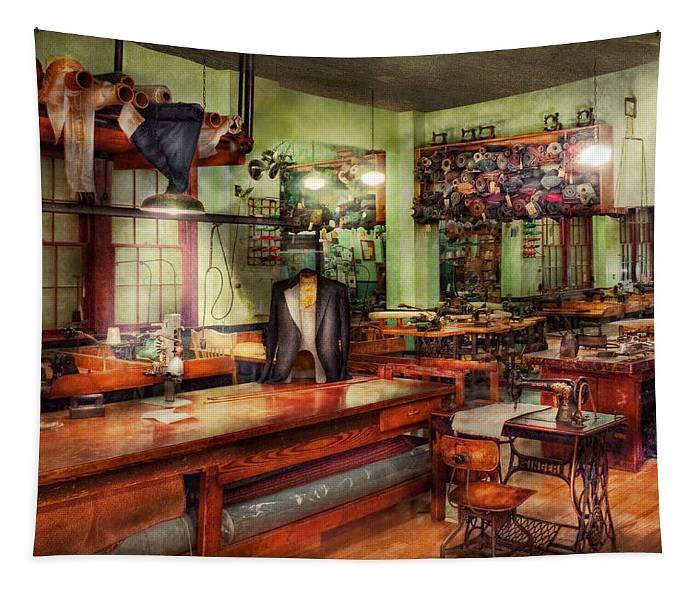 Sewing Tapestry featuring the photograph Sewing - Industrial - The Sweat Shop by Mike Savad