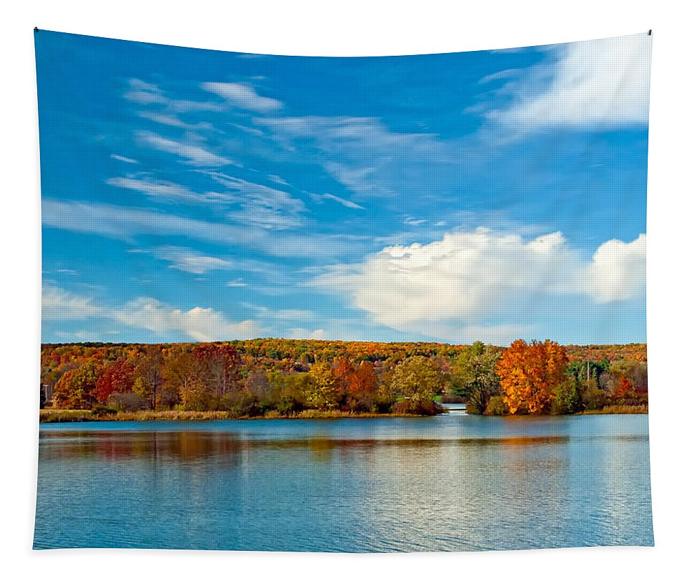 Pennsylvania Tapestry featuring the photograph Shawnee State Park by Steve Harrington