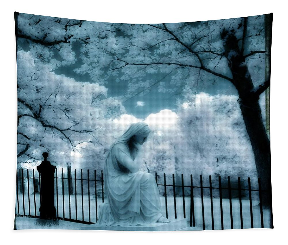Aqua Blue Tapestry featuring the photograph She Dreams In Blue by Gothicrow Images