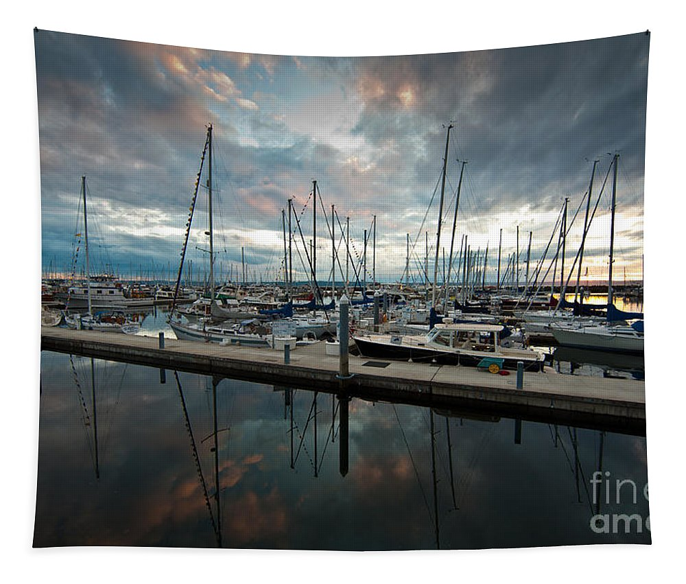 Marina Tapestry featuring the photograph Shilshole Marina Tranquility by Mike Reid