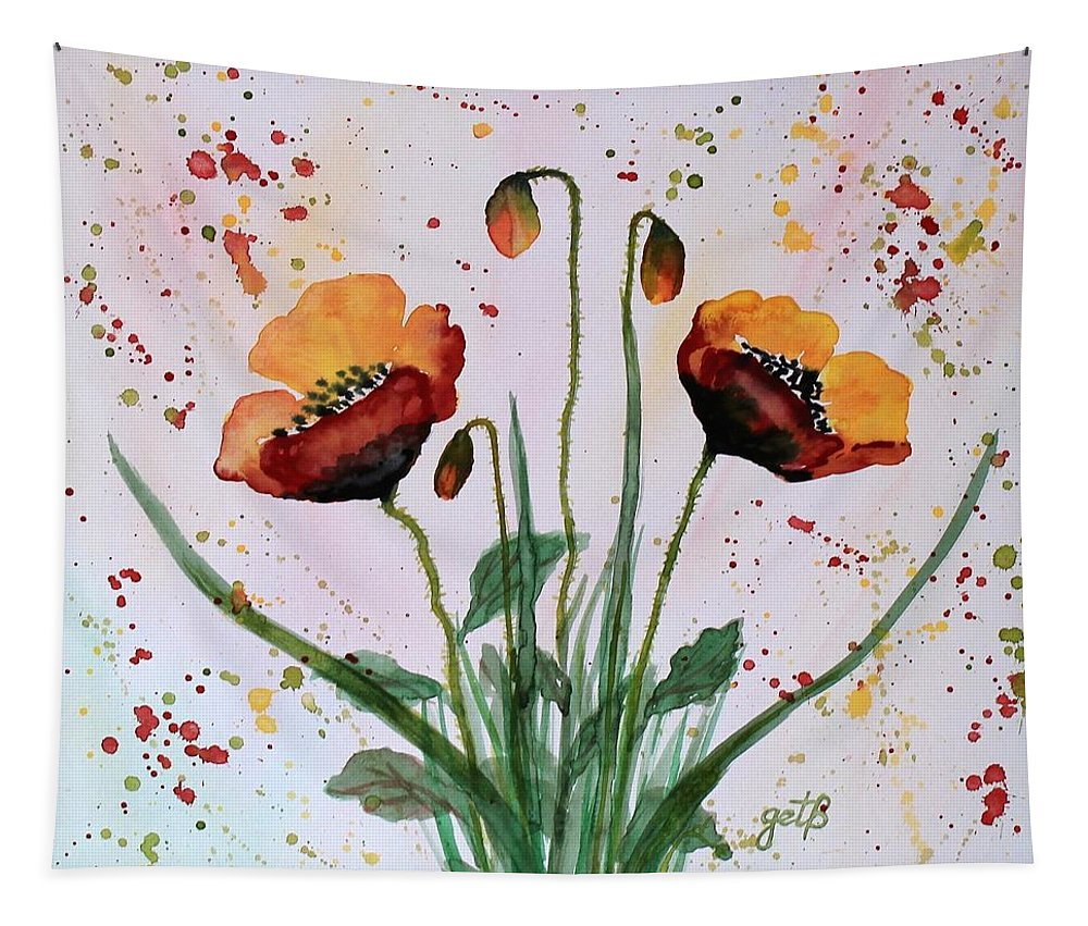 Red Poppy Tapestry featuring the painting Shining Red Poppies Watercolor Painting by Georgeta Blanaru