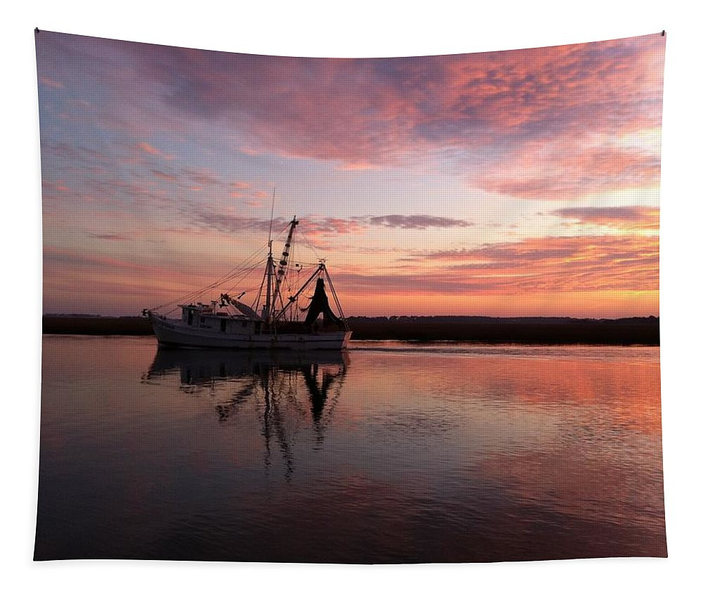 Shrimp Boat Tapestry featuring the painting Shrimp Boat And Sunset by Rosie Phillips