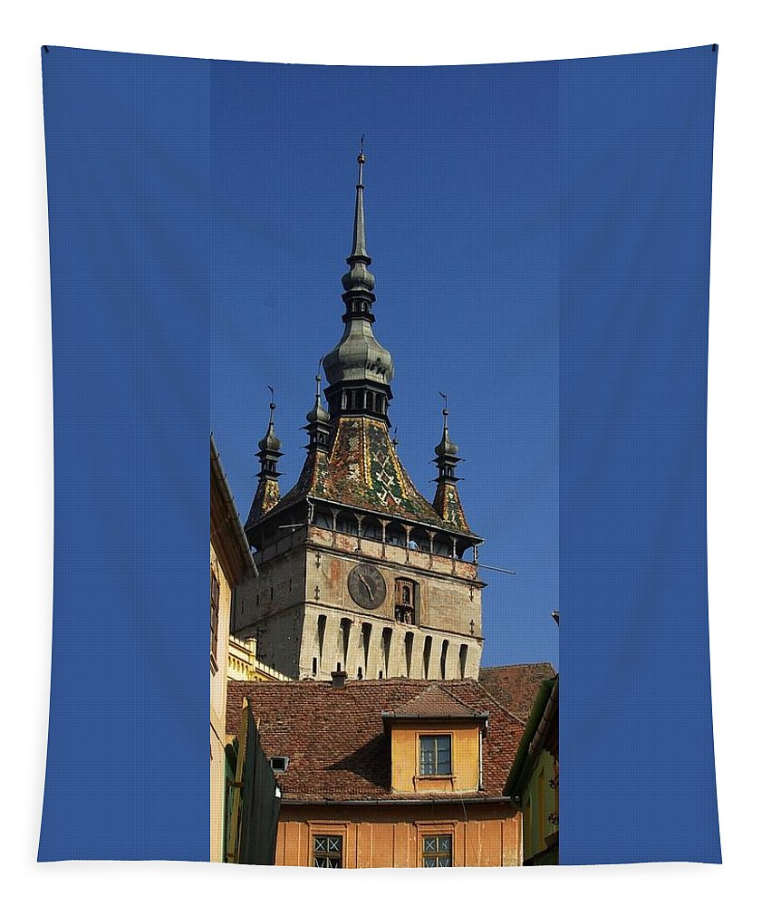 Old Town Tapestry featuring the photograph Sighisoara clock tower 2 by Amalia Suruceanu