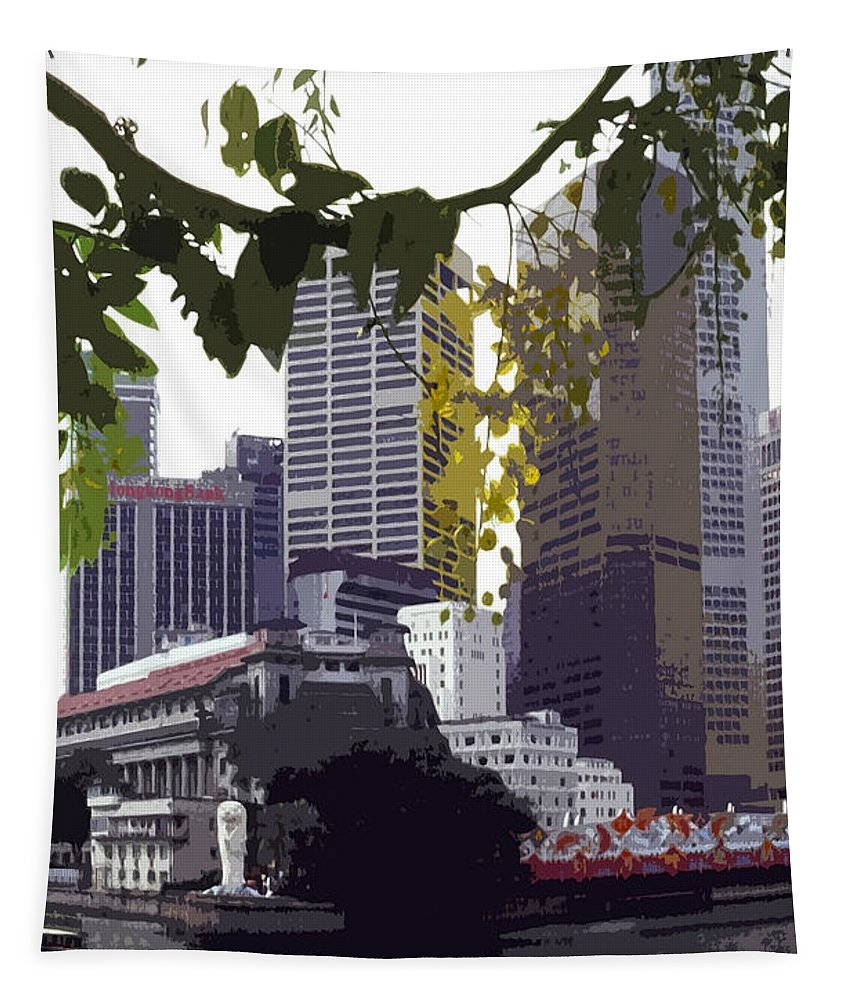 Asien Tapestry featuring the photograph Singapore ... The Lion City by Juergen Weiss