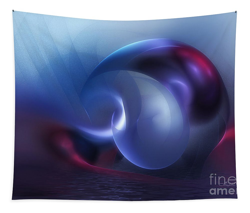 Fractal Tapestry featuring the digital art Sinking Planet by Jutta Maria Pusl
