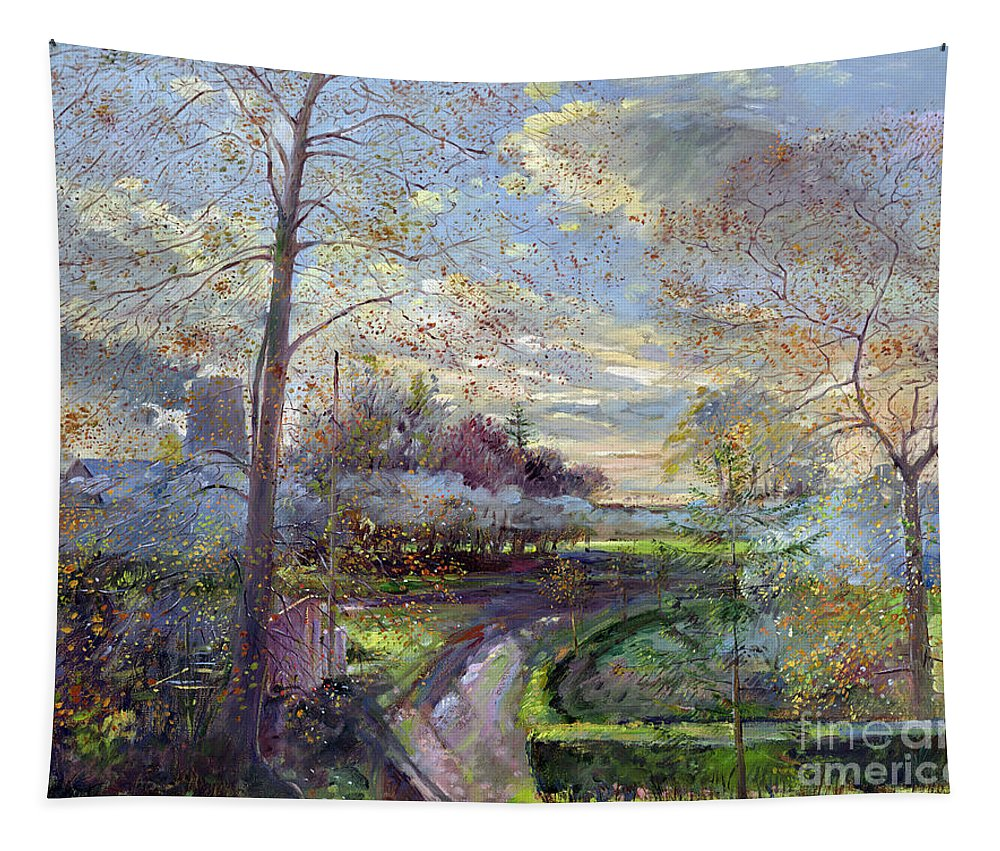 Autumn; Tree; Trees; Landscape; Leaf; Leafs; Bush; Bushes; Road; Landscapes Tapestry featuring the painting Smoke Drift - Autumn by Timothy Easton