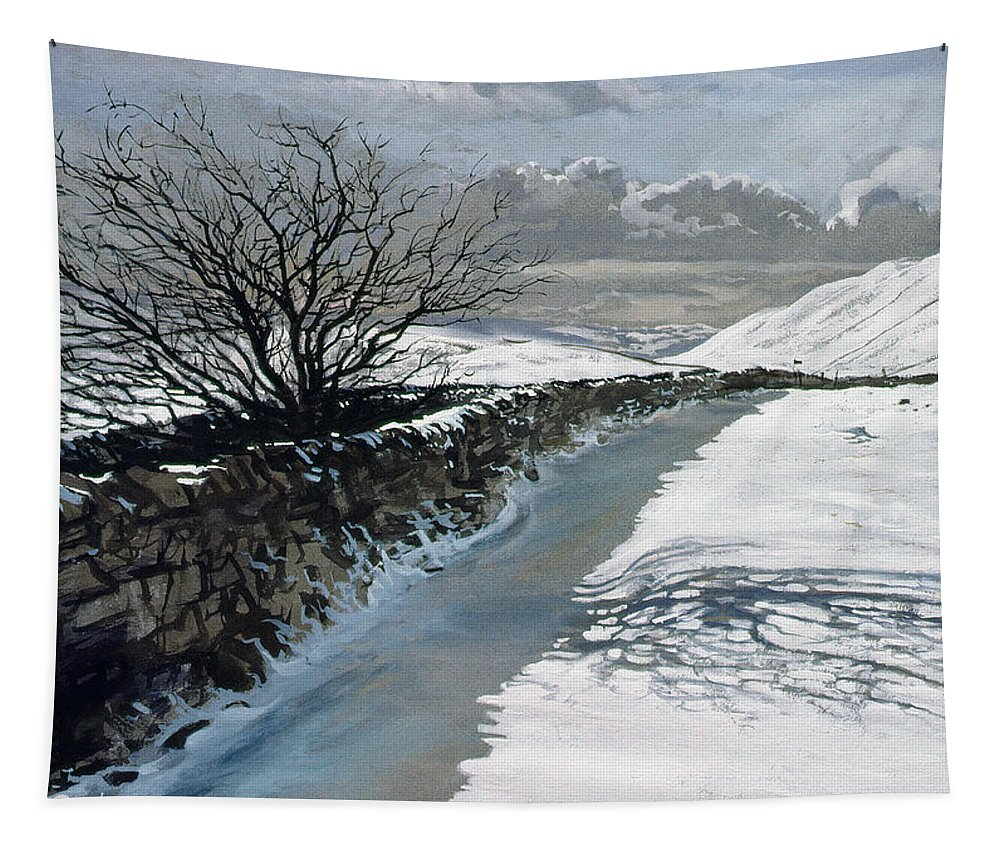Snow; Mountain; Mountains; Winter; Wall; Landscape; Tree; River; Water; Stream; Shadow Tapestry featuring the painting Snow Above Barbondale - Barbon by John Cooke