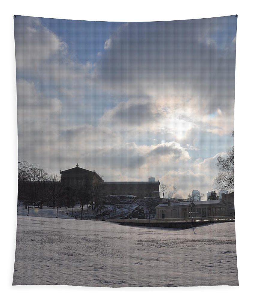 Snow Tapestry featuring the photograph Snow At The Art Museum - Philadelphia by Bill Cannon
