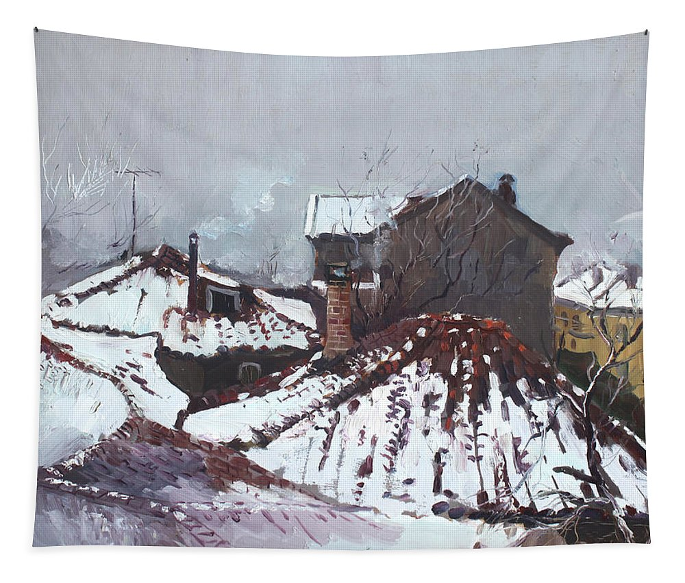 Snow Tapestry featuring the painting Snow In Elbasan by Ylli Haruni