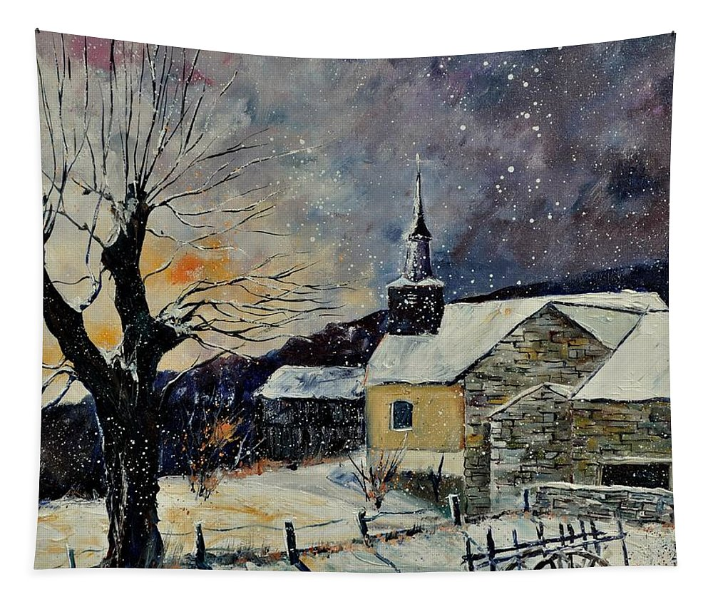 Landscape Tapestry featuring the painting Snow In Laforet by Pol Ledent
