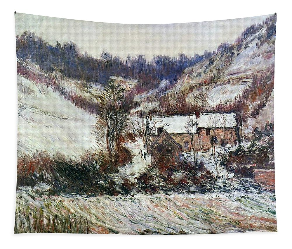 Snow Near Falaise Tapestry featuring the painting Snow Near Falaise by Claude Monet