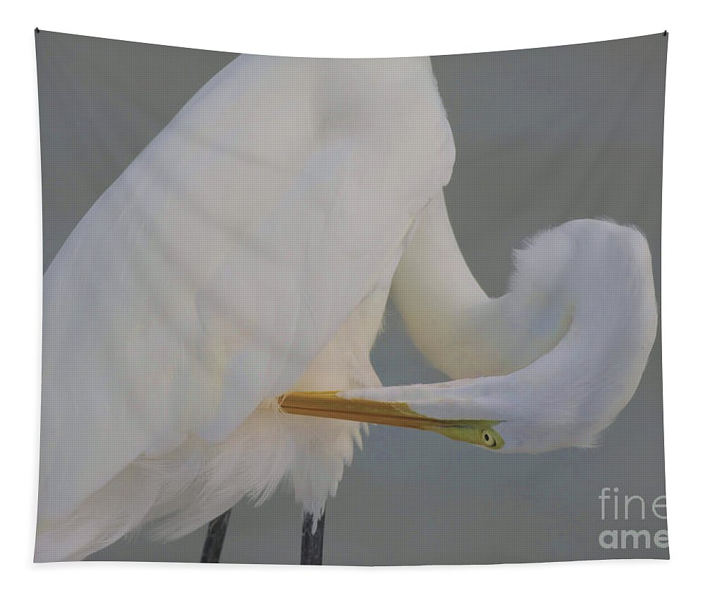 Egret Tapestry featuring the photograph Soft Egret Glow by Deborah Benoit