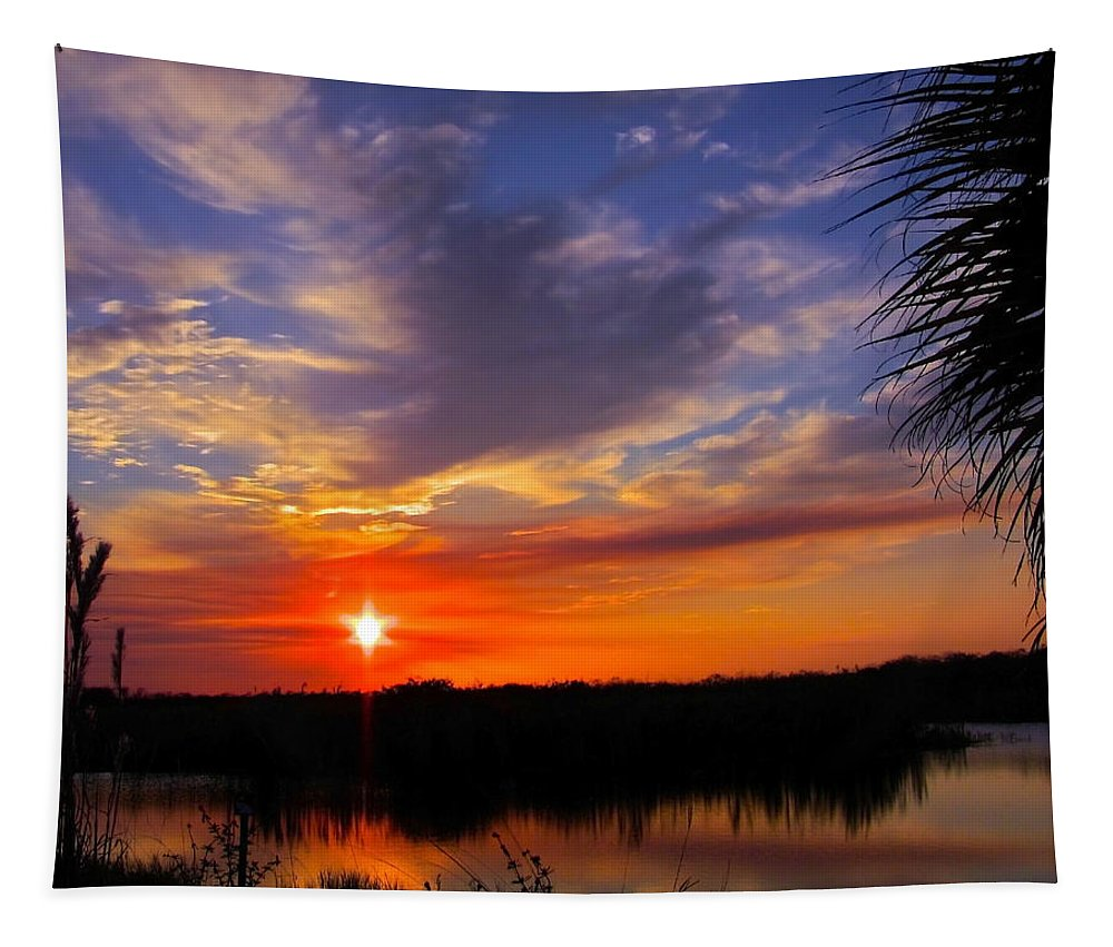 Sunset Tapestry featuring the photograph Solitary Sunset by Mark Andrew Thomas
