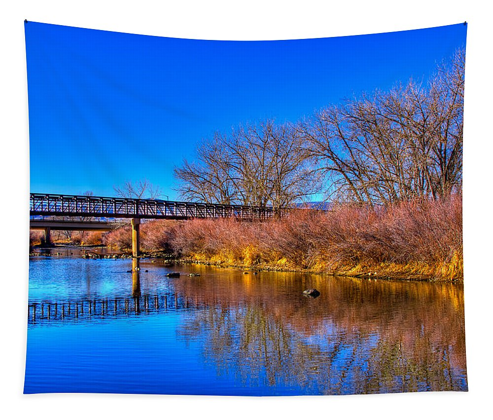 Denver Tapestry featuring the photograph South Platte Bridge Reflected by David Patterson