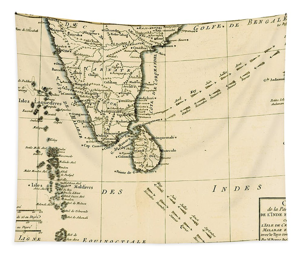 Maps Tapestry featuring the drawing Southern India And Ceylon by Guillaume Raynal