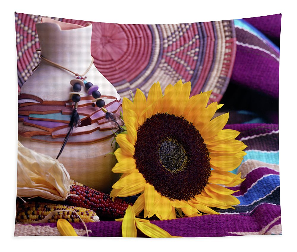 Still Tapestry featuring the photograph Southwestern Still Life With Sunflower by VJ Lair