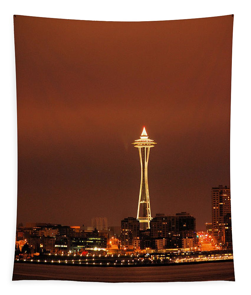 Space Tapestry featuring the photograph Space Needle Morning by Michael Merry