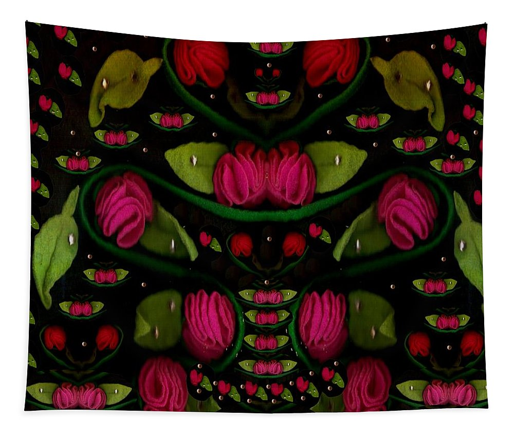 Roses Tapestry featuring the mixed media Spanish Flamenco Roses In Fantasy Style by Pepita Selles