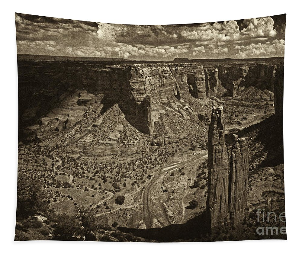 Spider Rock Tapestry featuring the photograph Spider Rock - Toned by Paul W Faust - Impressions of Light